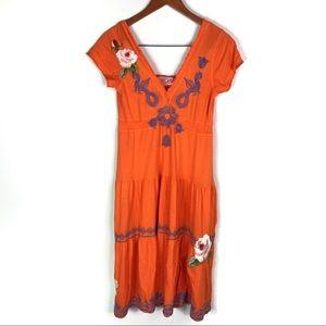 Johnny Was JWLA Orange Floral Embroidered Dress Sm